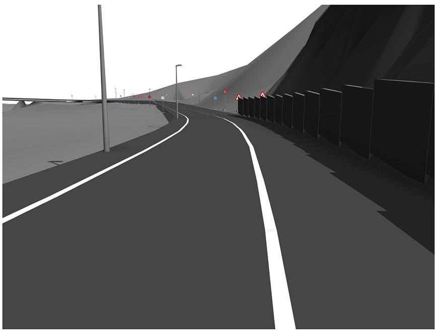 Imagen digitalizada de un tramo de carretera